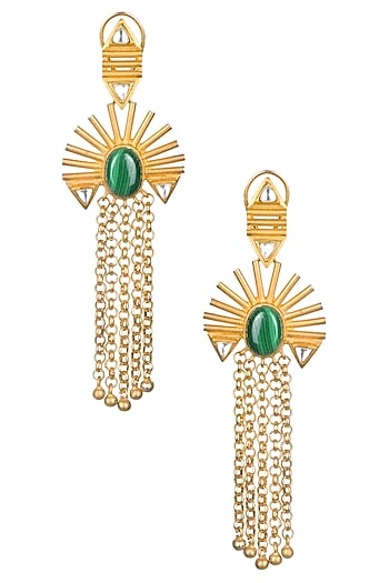 Gold Matte Finish Malachite Stone Chain Hanging Earrings by Rohita and Deepa