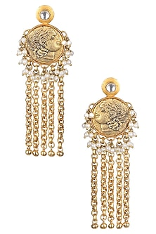 Gold Matte Finish Baby Pearl With Antique Lion Motif Earrings by Rohita and Deepa