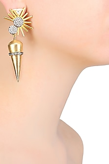 Gold Matte Finish Cubic Zirconium Star Burst Earrings by Rohita and Deepa