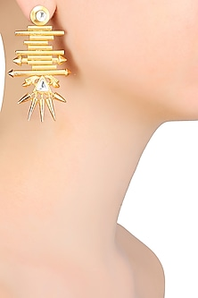 Gold Matte Finish Pipes And Spikes Starburst Motif Earrings by Rohita and Deepa