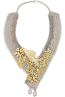 Gold Matte Finish Floral Creeper Motif Necklace With Chain Mesh Base by Rohita and Deepa