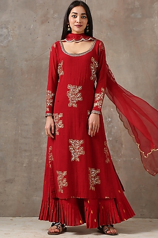 Red Printed & Embroidered Kurta Set by Rekha