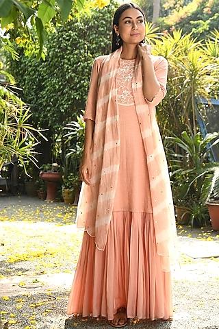 Peach Hand Embroidered Gharara Set by Rekha