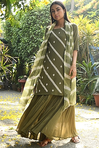 Green Hand Embroidered Gharara Set by Rekha