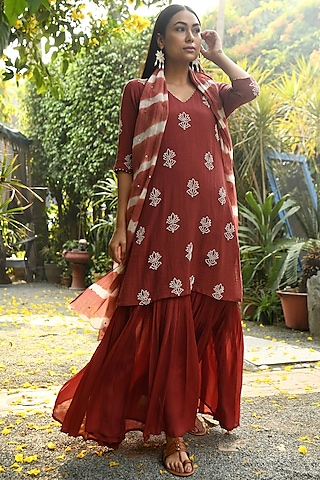 Red Hand Embroidered Gharara Set by Rekha
