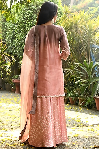Pink Embroidered Kurta Set by Rekha