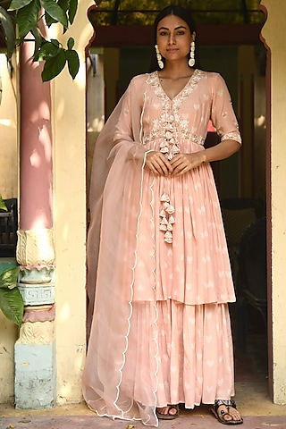 Peach Embroidered & Printed Gharara Set by Rekha