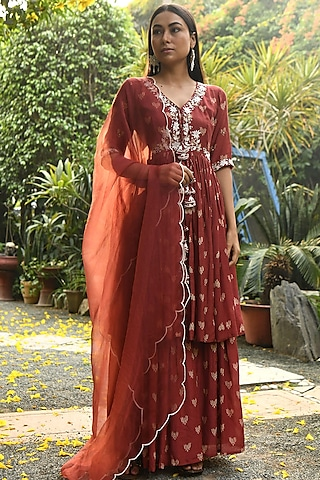 Rust Embroidered & Printed Gharara Set by Rekha