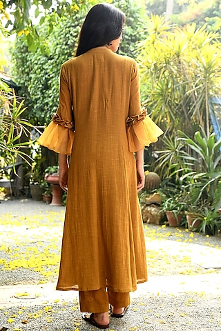 Mustard Embroidered Kurta With Pants by Rekha
