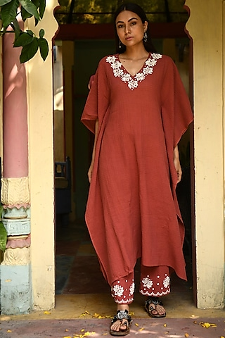 Rust Embroidered Kaftan Set by Rekha