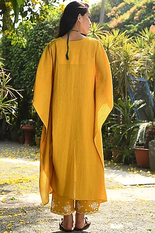 Yellow Embroidered Kaftan Set by Rekha