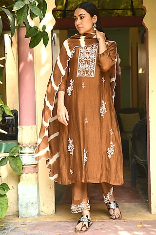 Brown Hand Embroidered Kurta Set by Rekha