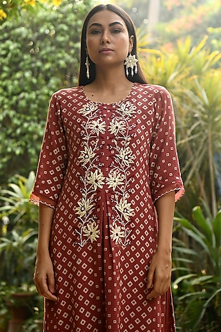 Rust Embroidered Kurta With Pants by Rekha