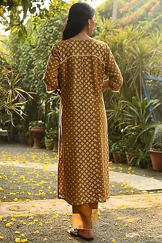 Mustard Embroidered & Printed Kurta With Pants by Rekha