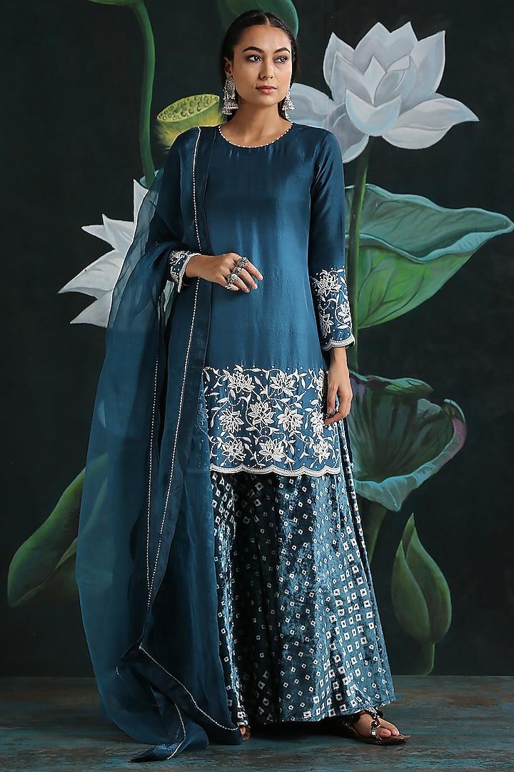 Teal Blue Embroidered Kurta Set by Rekha