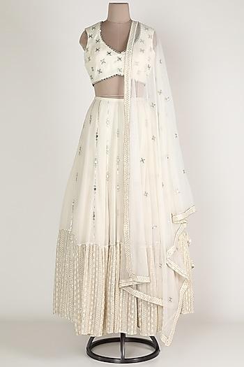 White Embroidered Lehenga Set by Renee Label