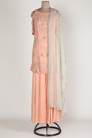 Blush Pink Embroidered Sharara Set by Renee Label