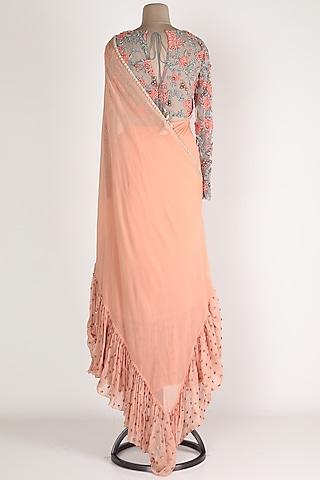 Blush Pink Pre Stitched Saree Set by Renee Label