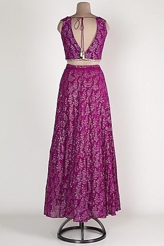 Purple Embroidered Lehenga Set by Renee Label