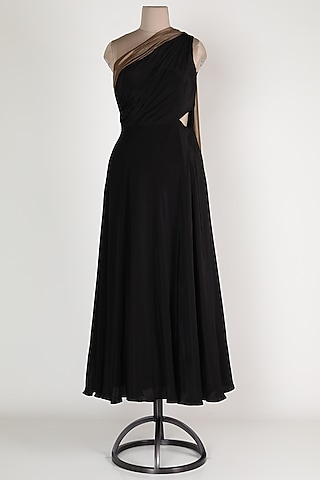 Black One Shoulder Gown by Renee Label