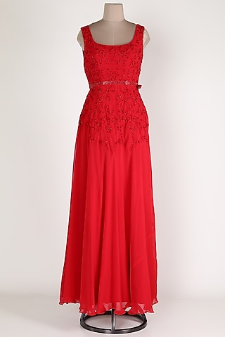 Red Thread Embroidered Gown by Renee Label