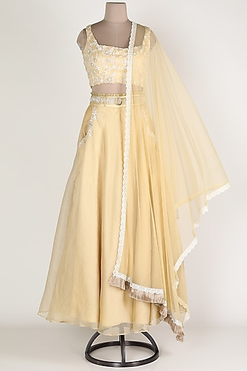 Beige Embroidered Lehenga Set by Renee Label