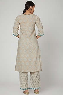 Beige Block Printed & Embroidered Kurta With Pants by Renee Label