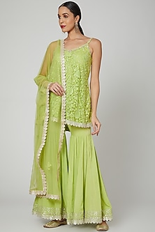 Leaf Green Embroidered Gharara Set by Renee Label
