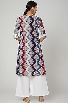White Block Printed & Embroidered Kurta Set by Renee Label