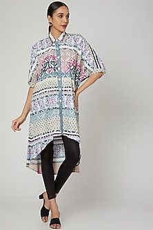 Powder Blue Printed & Embroidered Tunic by Renee Label