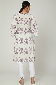 White Jaipuri Block Printed & Embroidered Kurta Set by Renee Label