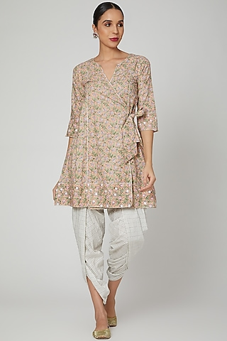 Beige Block Printed & Embroidered Kurta With Dhoti by Renee Label