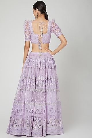 Lilac Embroidered Lehenga Set by Renee Label
