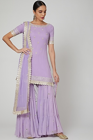 Lilac Embroidered Gharara Set by Renee Label