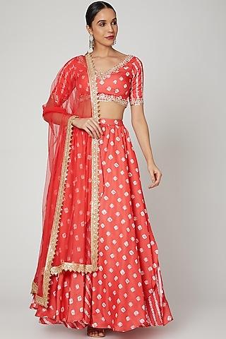 Red Bandhani Embroidered Lehenga Set by Renee Label
