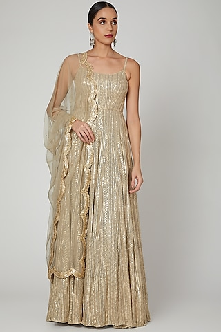 Champagne Gold Embroidered Anarkali & Dupatta  by Renee Label