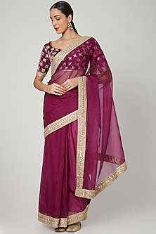 Wine Embroidered Saree Set by Renee Label