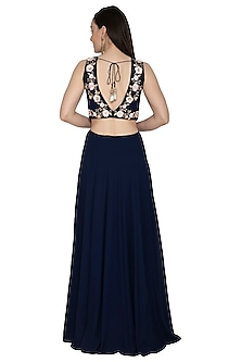 Navy Blue Embroidered Gown by Renee Label
