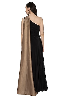 Black One Shoulder Draped Gown by Renee Label