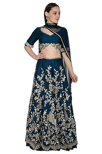 Midnight Blue Embroidered Lehenga Set by Renee Label