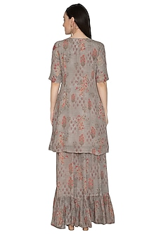 Slated Grey Embroidered & Printed Sharara Set by Renee Label