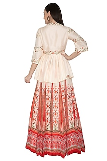 Scarlet Red Embroidered Lehenga Set With Belt by Renee Label