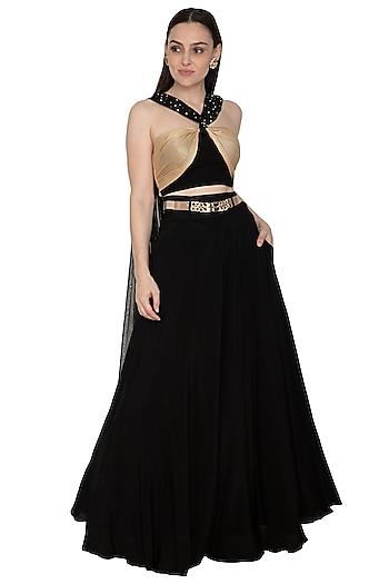Black Embellished Skirt Set With Belt by Renee Label