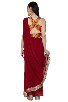 Maroon Embellished Saree Set by Renee Label
