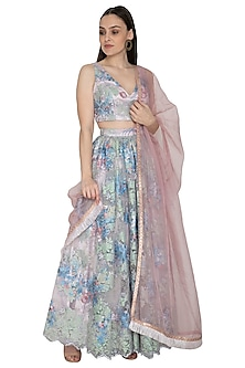 Powder Blue Embroidered Lehenga Set by Renee Label
