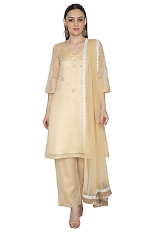 Light Gold Embroidered Kurta Set by Renee Label