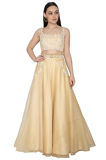 Light Gold Embroidered Lehenga Set With Belt by Renee Label