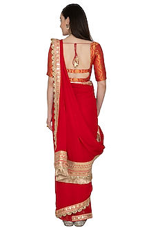 Crimson Red Embellished Saree Set by Renee Label