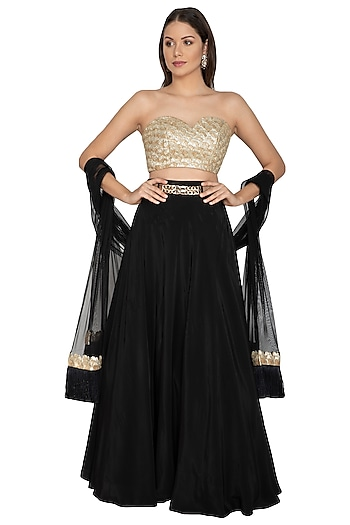 Black Embroidered Lehenga Set by Renee Label