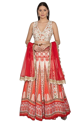 Scarlet Red Embroidered Lehenga Set by Renee Label